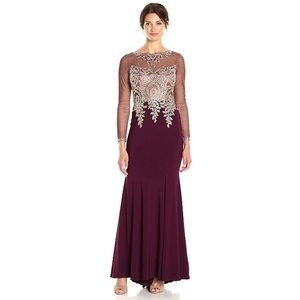 Xscape Gown with Emb/Bead Top & Illusion Sleeves